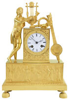 PENDULE ORPHEE. Kaminuhr Empire clock bronze horloge antique cartel uhren