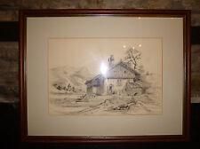 Vallee de le Menoge PENCIL DRAWING Cottage & Church 1904 SIGNED Picture ART