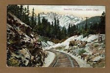 Beautiful California CA Castle Crags. Railroad tracks in snow mountains