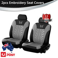 2PCS Embroidery Knitting Car Front Seat Cover Protector Universal Full Surround