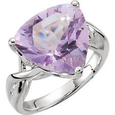 Rose Quartz Not Enhanced Sterling Silver Fine Rings