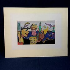 """ORIGINAL WATERCOLOR PEN INK BY GUNTER TEMECH 1982 """"LIFE WITH MISSILES"""" K"""