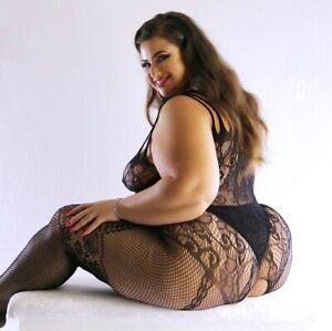 UK 6-28 Fishnet Bodysuit Body Stocking Lingerie Underwear Erotic Plus Size Curve