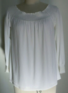 Women's NWT Calvin Klein Size 12 Beige Smocked L/S Polyester Peasant Blouse