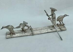 Antique Chinese Silver Miniature Model of A Fisherman on A Raft.
