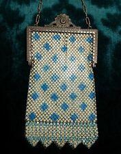 ANTIQUE MANDALIAN ENAMELED FLAT MESH PURSE, 1920s Art Deco Blue Diamonds, VG