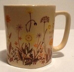 Vintage Wildflowers Tan Brown Hexagon Ceramic Coffee Mug 1970's
