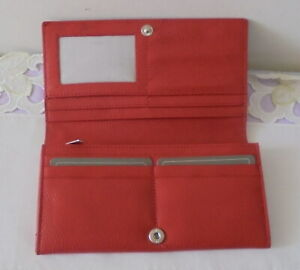 WALLET - Manzoni - Large - Clutch - Leather - Red - NEW No Tags