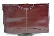 VINTAGE 1970s HAMILTON dark red leather clutch bag/handbag with chain handle