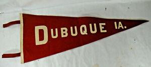 Vintage DUBUQUE IOWA Red Felt Pennant