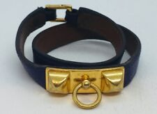 Hermes Collier de Chien Double Wrap Purple Leather Gold Plated Bracelet