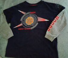 long sleeved hoops shirt size small 8, respect the game. blue, gray, basketball