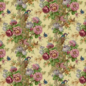 Bradbury and Bradbury Dollhouse Wallpaper - Vintage Peacock and Rose