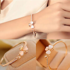 Elegant Women Crystal Flower Gold Plated Charm Cuff Bangle Bracelet Jewelry Gift