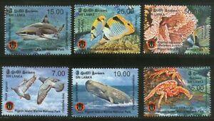 Sri Lanka 2014 Pigeon Island Fish Bird Crab Coral Marine animals Fauna set 6v