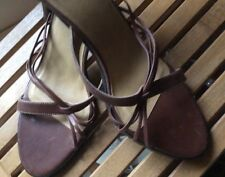 """New WHITE MT WOMENS Mules/slides 10B Brown Leather 4"""" Heel Lovely"""