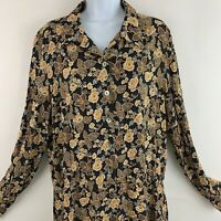 Vintage Narducci Womens Dress Floral Long Maxi Rayon Button front 90s Grunge XXL