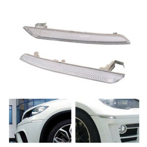 Clear Front Bumper Side Marker Reflector Light For BMW X6 E71 E72 2007-2014 Set
