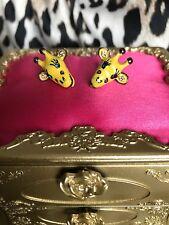 Betsey Johnson Vintage Jungle Fever Zoo Yellow Enamel Giraffe Head Stud Earrings