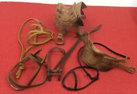 VINTGE LOT MODEL HORSE BRIDLE SADDLE FOR GABRIEL MARX, ETC. ORIGINAL 60'S/70'S