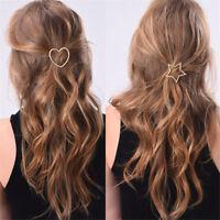 Women Gold Silver Heart Star Hairpin Barrette Hair Clip Hair Accessories Hot