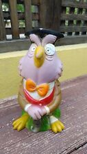 VTG RARE MEXICAN WISE OWL HARD PLASTIC TOY COIN BANK - VINILOS ROMAY - PROMO