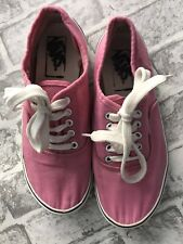 WOMENS VANS SIZE 5 CANVAS SHOES PLIMSOLES PINK LACE UPS