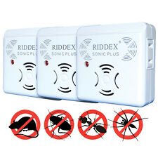 NEW Riddex Sonic Plus Pest Repeller Set Of 3 - Utrasonic Wave No Chemicals