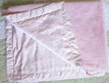 Pink Fluffy Plush w Floral Satin Edge & Backing Baby Girl Blanket Rn 99584 Euc
