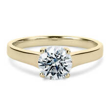 14K Yellow Gold 1 Carat Round Cut Moissanite 4 Prong Solitaire Engagement Ring