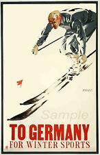 VINTAGE Allemagne Ski Sports d'hiver de voyage A4 Poster Print