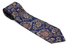IZOD Neck Tie Dark BLUE PAISLEY 100% SILK Necktie Red Gold  Made USA FREE SHIP