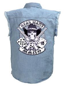 Mens Aces And Eights Dead Mans Hand Blue Denim Sleeveless Cutoff Biker Shirt