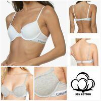 Calvin Klein Bra Underwire Padded 53% Cotton T-Shirt Half Cup Grey White 32D-34C
