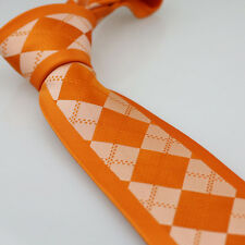 Coachella Ties Border Orange With Silver Checks Necktie Microfiber Neck Tie