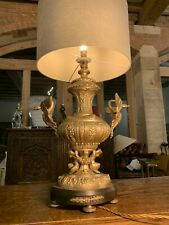 Antique 1920's Spanish Gilded Solid Brass Ornate Table Lamp, Rococo, Baroque