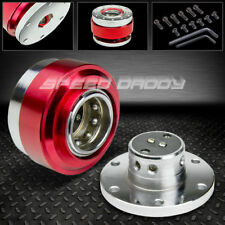 """2.25"""" STEERING WHEEL SHORT 6-HOLE BALL BEARING QUICK RELEASE HUB ADAPTER KIT RED"""