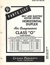 Chicago Pneumatic Vintage Class O Air Compressors Parts Manual 1952