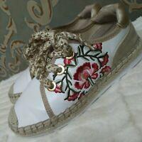 Aldo Embroidered Espadrille Sneakers Womens Size 7 EUR 37.5 Vegan White Gold