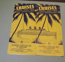 1938 1939 Raymond Whitcomb Cunard Cruise Ship Line West Indies Schedule Brochure