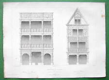 ARCHITECTURE PRINT 1850 - France Timber Houses at Rouen on Rue Grosse-Horloge
