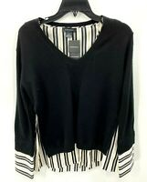 Club Monaco Womens Black White Mixed Media Merino Wool Sweater Size Small NWT