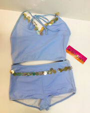 New Kate Mack Girls Teen 2 Piece Boy Shorts Swimsuit Bathing Suit Blue Size 16