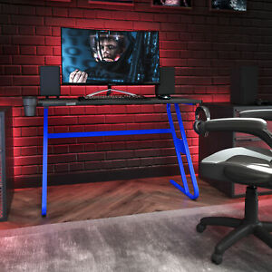 Blue Gaming Ergonomic Desk with Cup Holder and Headphone Hook