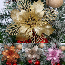 1X Glitter Hollow Wedding Party Decor Christmas Flowers Xmas Tree Ornament Decor