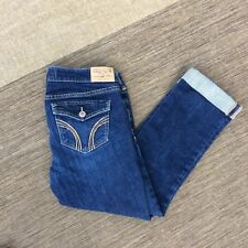 "KIDS GIRLS HOLLISTER JEANS BLUE ROLLED UP WAIST 28"" LEG 24"" CROPPED TEEN"