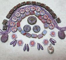 "New ListingLilac-Amethyst Dragonfly Czech Beads, ""Follow Your Heart"" charm"