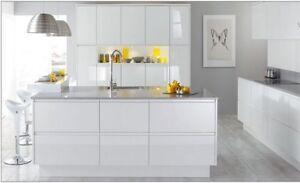 Burbidge Malmo White High Gloss kitchen, Slab Handleless contemporary Kitchen