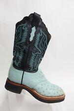 LUCCHESE Full-Quill Ostrich Blue Sz 6.5 C Women Cowboy Boots