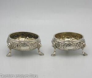Georgian salt pair solid silver floral hoofed feet 1772 Thomas Shepheard 18th C